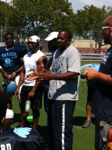 Canarsie Head Football Coach Addresses Team at Practice.