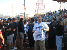 Joe Rizzo, A.KA. Dj Riz, at MCU Park during Brooklyn Night.