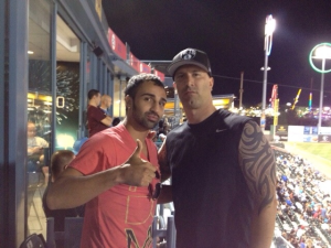 DJ Riz with Brooklyn's Paulie Malignaggi, professional boxer and commentator.