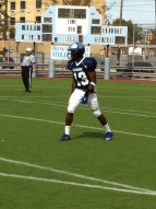 Senior receiver Darius Lancaster lines up for play during Canarsie's 34-19 loss to Port Richmond Saturday.