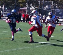 Canarsie tailback Palyte Stubbs runs to the outside for a short gain.