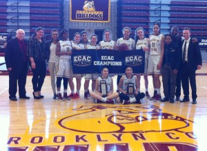 Brooklyn College Women's Basketball Team 2015-2016 ECAC Championship Banner.